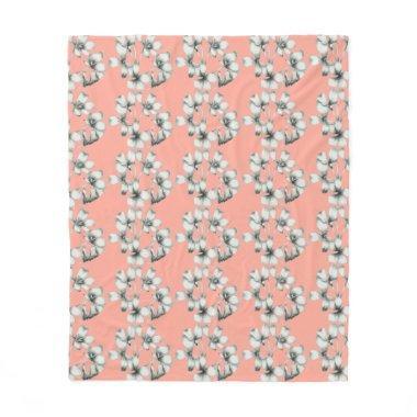 NEW-Bridal-Bouquet-Floral-Peach-Med_Fleece_Blanket Fleece Blanket
