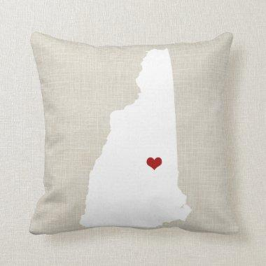 New Hampshire State Pillow Faux Linen Personalized