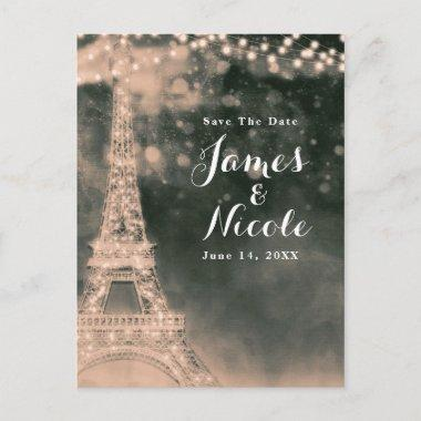 Night in Paris Eiffel Tower & Lights Save the Date Announcement PostInvitations