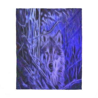 Night Warrior Wolf Fleece Blanket