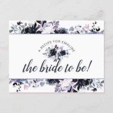 Nocturnal Floral Navy Blue Bride to Be Recipe Invitations