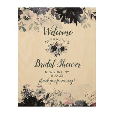 Nocturnal Floral Navy \Bridal Shower Welcome Sign