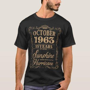 october 1963 55 years of being sunshine birthday t T-Shirt