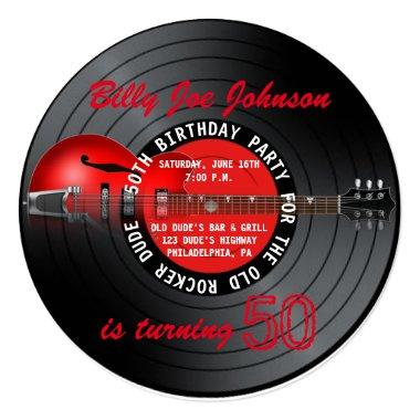 Old Rocker Dude Guitar Record 50th Birthday Party