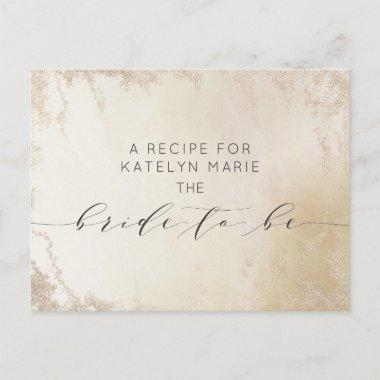 Ombre Yellow Gold Frosted Bride to Be Recipe Invitations