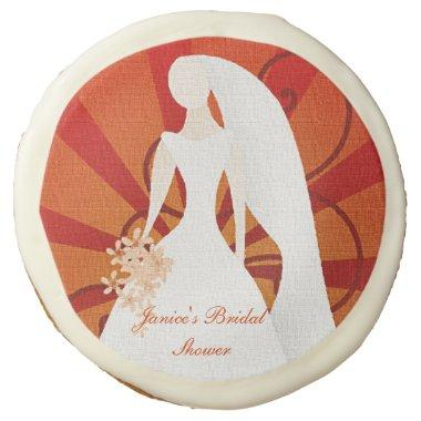 Orange and White Bride Shower Cookie