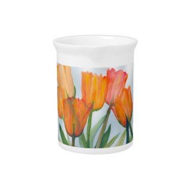 Orange Citrus Tulips Drink Pitcher