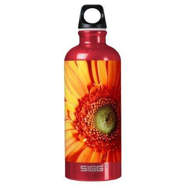 Orange Daisy Aluminum Water Bottle