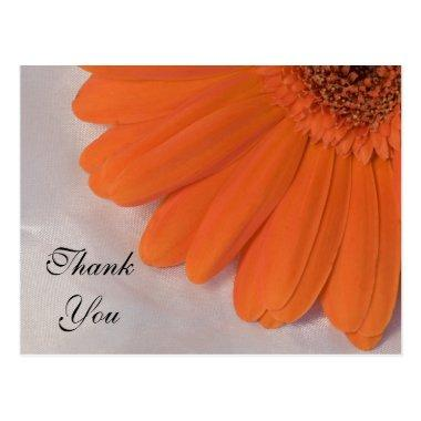 Orange Daisy and White Satin Wedding Thank You Post