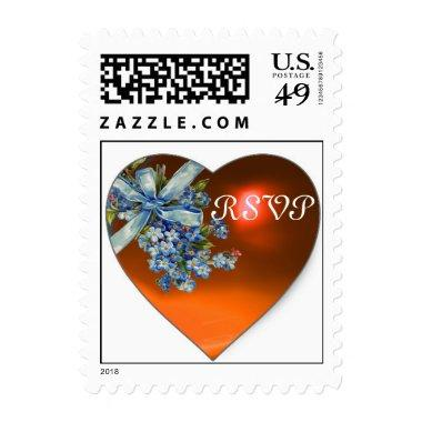 ORANGE HEART & FORGET ME NOTS WEDDING PARTY RSVP POSTAGE