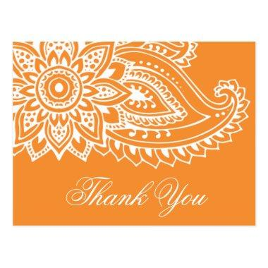 Orange Indian Paisley Thank You PostInvitations