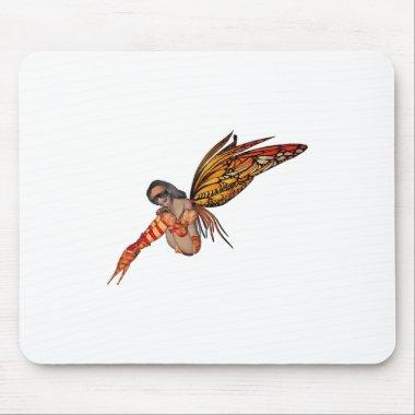 Orange Monarch Pixie Butterfly Fairy 6 - Mouse Pad