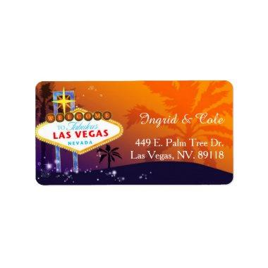 Orange Purple Las Vegas Wedding Label
