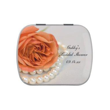 Orange Rose Pearls  Favor Jelly Belly Tin