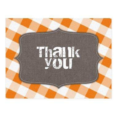 Orange & White Gingham Canvas Thank You Post