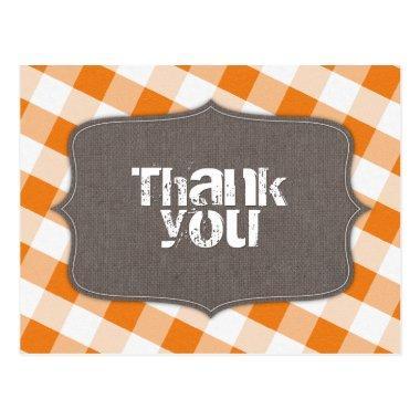 Orange & White Gingham Canvas Thank You Post