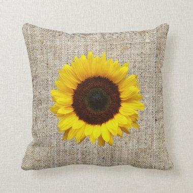 orange yellow Sunflower burlap home decor pillow