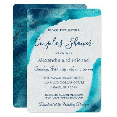 Organic Ocean Blue Watercolor Couple's Shower
