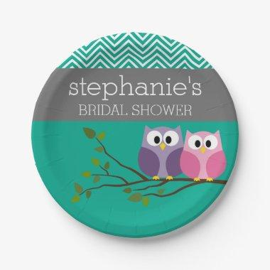 Owl Couple on Branch  Favors Paper Plate