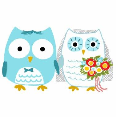 Owls Bride and Groom - Fun Wedding Cake Topper Cutout