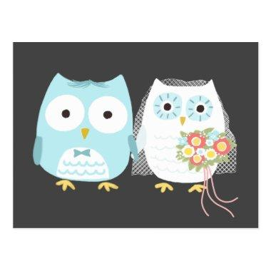 Owls Wedding Bride and Groom Cute Couple PostInvitations