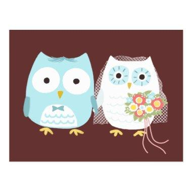 Owls Wedding Bride and Groom Cute Newlywed Couple PostInvitations