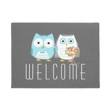 Owls Wedding Couple - Custom Text Doormat