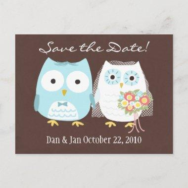 Owls Wedding Save the Date Cute Bride and Groom Announcement PostInvitations
