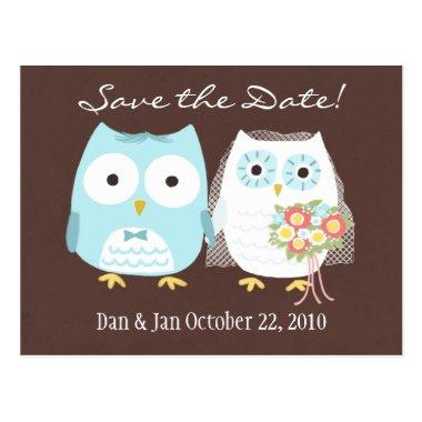 Owls Wedding Save the Date Cute Bride and Groom Post