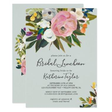 Painted Floral Bridal Luncheon Invitations