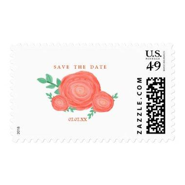 Painted Orange Flowers Modern Postage Stamp