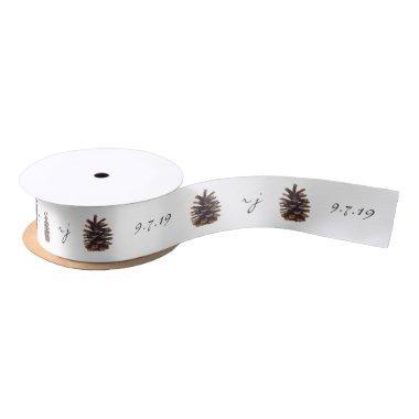 Painted Pine Cone Customized Wedding Ribbon