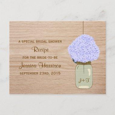 Pale Blue Hydrangea & Mason Jar  Invitation Post