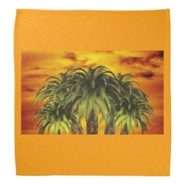 Palm Tree Tropical Personalize Sunset Bandana
