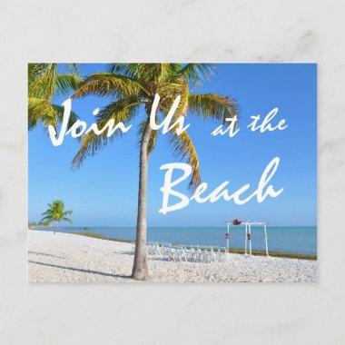 Palm Trees Beach Summer Save the Date Announcement PostInvitations