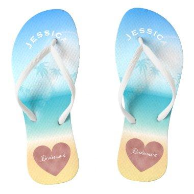 Palm Trees Tropical Beach Wedding Heart Bridesmaid Flip Flops