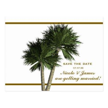 Palm Trees White & Gold Elegant Save The Date