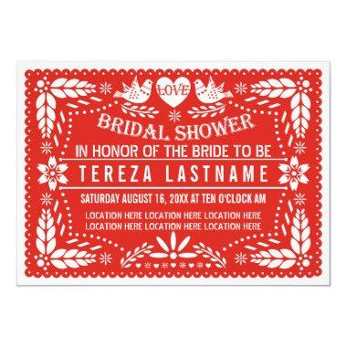 Papel picado love birds red wedding