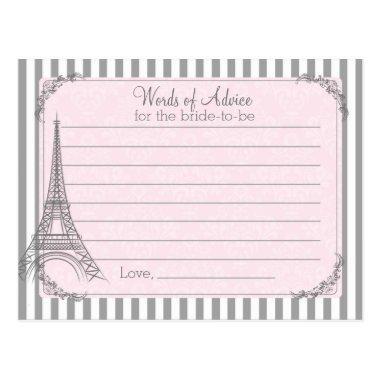 Paris Bridal Shower Advice card for the bride