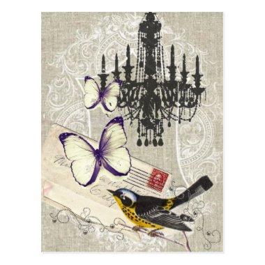 Paris chandelier butterfly bird modern vintage post