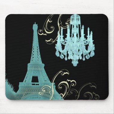 Paris Eiffel Tower Chandelier vintage wedding Mouse Pad