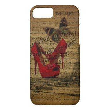Paris eiffel tower fashionista red stilettos iPhone 8/7 case