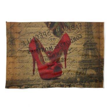 Paris eiffel tower fashionista red stilettos kitchen towel
