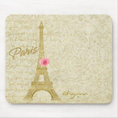 Paris Eiffel Tower Gold & Pink Elegant Mouse Pad