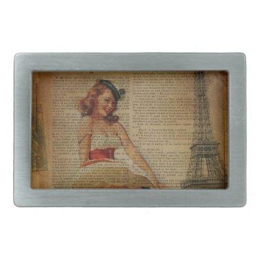 Paris eiffel tower nautical pin up sailor belt buckle