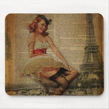paris eiffel tower retro pinup girl sailor mouse pad