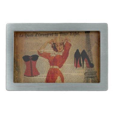 paris eiffel tower vintage corset lingerie party belt buckle