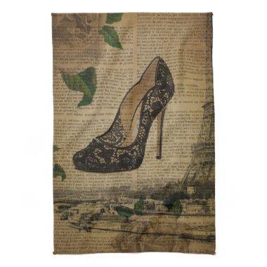 Paris eiffel tower vintage girly shoe Stiletto Towel