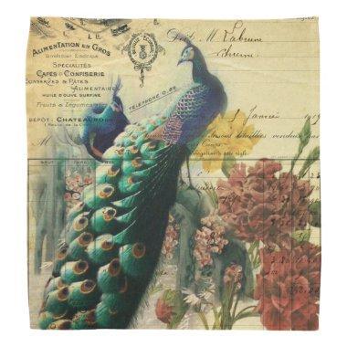 paris fashion girly flower vintage peacock bandana
