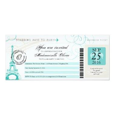 Paris France Eiffel Tower Vintage Boarding Pass